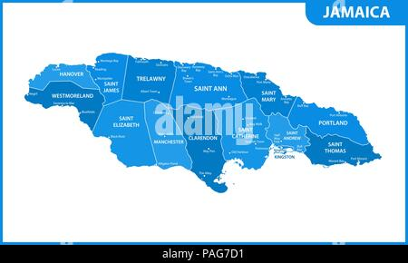 The detailed map of Jamaica with regions or states and cities, capital. Administrative division. - Stock Photo