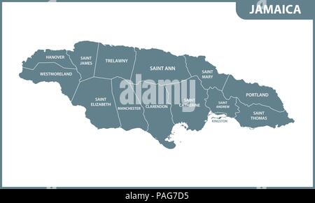 The detailed map of Jamaica with regions or states. Administrative division. - Stock Photo