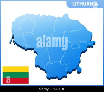 Highly detailed three dimensional map of Lithuania with regions border - Stock Photo