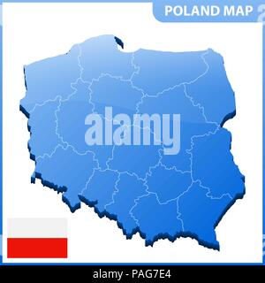 Highly detailed three dimensional map of Poland with regions border - Stock Photo