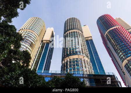 Green buildings at Barangaroo.  The three towers at Barangaroo in Sydney are all 6 star Green Rated. - Stock Photo