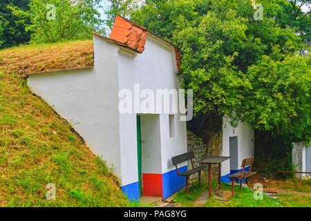 Traditional Wine Cellars - Plze, Petrov, Czech Republic, Europe. Wine lore and folklore. Moravian wine cellars - Stock Photo