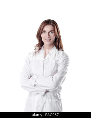 portrait of young woman doctor isolated on white. - Stock Photo
