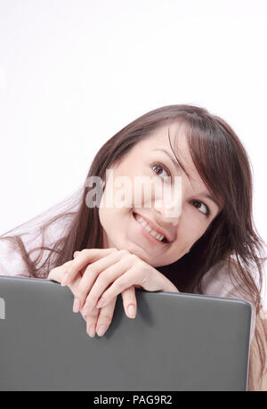 closeup. portrait of young business woman at the workplace - Stock Photo