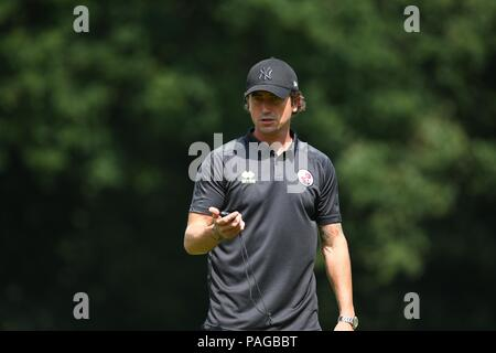 Crawley Town's head coach Harry Kewell during the pre season friendly between Crawley Town and Charlton Athletic  at East Court, East Grinstead, UK. 21 July 2018. - Stock Photo
