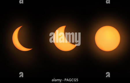 Moon phases partial lunar eclipse - Stock Photo