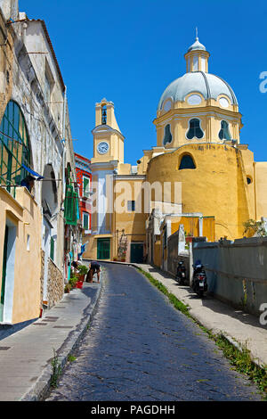 Alley at old town leads to church Chiesa della Madonna delle Grazie, Procida, Gulf of Naples, Italy - Stock Photo