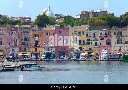 Colourful fishermen's houses at Marina Grande, Procida island, Gulf of Naples, Italy - Stock Photo