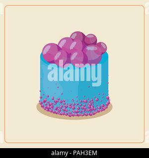 blue birthday cake bubbles dessert vector illustration - Stock Photo