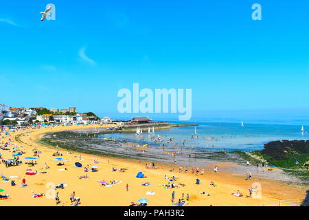 Viking bay beach, tourists and locals during summer heatwave, Broadstairs, Kent, UK, July, 2018 - Stock Photo