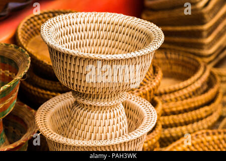 View of the wicker baskets in Louangphabang, Laos. Close-up - Stock Photo