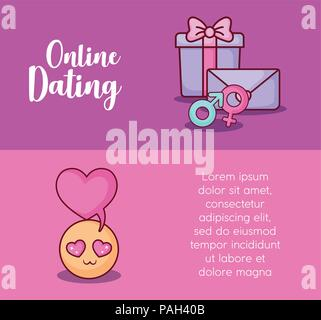 Online dating Infographic with gift box and in love emoji icon, colorful design. vector illustration  - Stock Photo