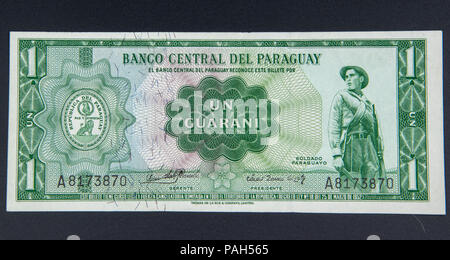 1 Guarani, the legal tender of Paraguay amd the oldest legal tender in South America - Stock Photo