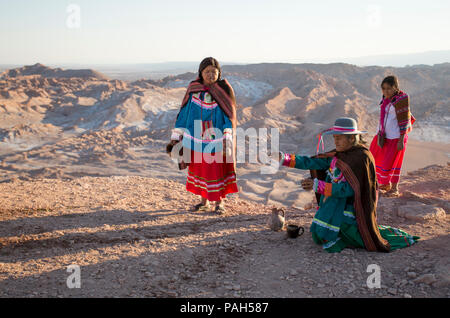 Ceremony to Pachamama aka Mother Earth. South America, Northern Chile, Antofagasta, Atacama Desert. - Stock Photo