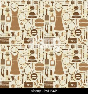 Beauty and fashion related seamless pattern background. - Stock Photo