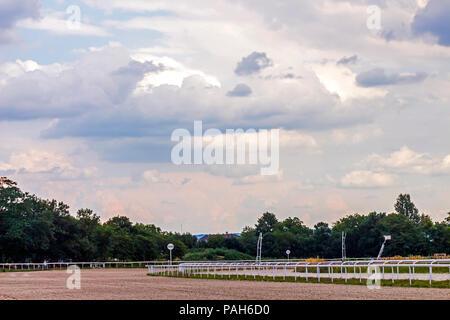 PYATIGORSK, RUSSIA - JULY 22, 2018:Racecourse in Pyatigorsk,Northern Caucasus, Stavropol territory.One of the largest and oldest racecourses in Russia - Stock Photo