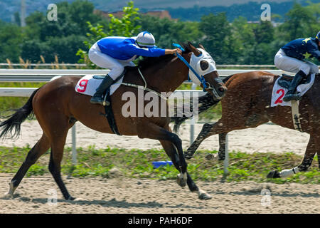 PYATIGORSK, RUSSIA - JULY 22, 2018:Horse racing for the prize in honor of Derby Jasil in Pyatigorsk,one of the largest and oldest racecourses in Russi - Stock Photo