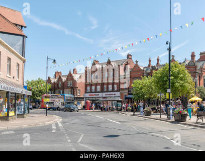 View along the main road through the centre of Lytham, Lancashire - Stock Photo