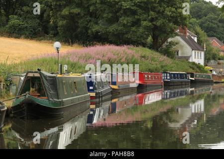 Narrowboats moored on the Staffordshire & Worcestershire canal at Stourton, near Stourbridge, West midlands, UK. - Stock Photo