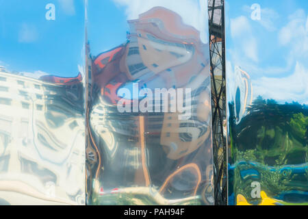 Abstract buildings reflections on metal, Tirana, Albania - Stock Photo