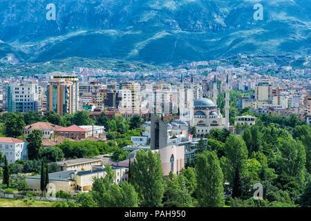 View over Tirana and the new Mosque, Tirana, Albania - Stock Photo
