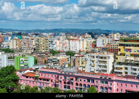 View over Tirana, Tirana, Albania - Stock Photo