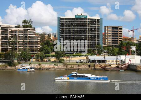 BRISBANE, AUSTRALIA - MARCH 19: People ride CityCat ferry on March 19, 2008 in Brisbane, Australia. Ferries are operated by Translink, which served 17 - Stock Photo