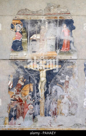 Adoration of the Magi, Mass of St. Gregory, St. George and the Princess, Crucifixion, fresco in the church of San Pietro Martire in Verona, Italy - Stock Photo