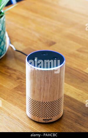 Amazon Echo, Alexa, smart device, smart devices, Smart Speaker, Smart Speakers, voice control, Voice Service, voice-controlled intelligent assistant - Stock Photo