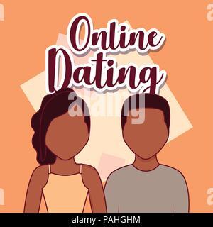 Online dating design with avatar couple over orange background, colorful design. vector illustration