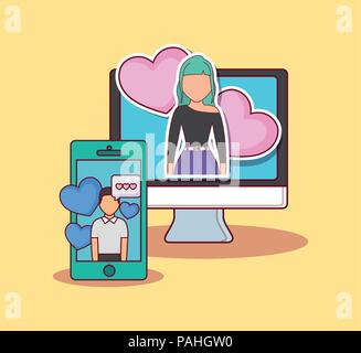 Online dating design with computer and cellphone with avatar man and woman over yellow background, colorful design. vector illustration