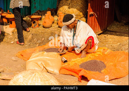 OMO, ETHIOPIA - SEPTEMBER 19, 2011: Unidentified Ethiopian man at the market. People in Ethiopia suffer of poverty due to the unstable situation - Stock Photo
