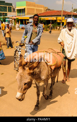 OMO, ETHIOPIA - SEPTEMBER 19, 2011: Unidentified Ethiopian man with donkey. People in Ethiopia suffer of poverty due to the unstable situation - Stock Photo