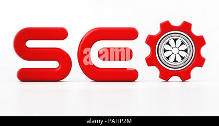 SEO word with a gear inside letter o. 3D illustration. - Stock Photo