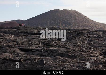 Volcanic Landscape of Lava, Santiago Island, Galapagos Islands - Stock Photo