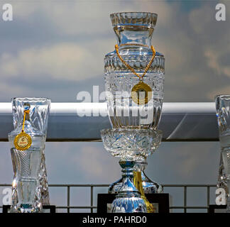 PYATIGORSK, RUSSIA - JULY 22, 2018:Some awards on the table to the winners of the races on racecourse in Pyatigorsk,Northern Caucasus,Russia. - Stock Photo