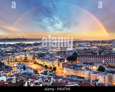 Lisbon with rainbow - Lisboa cityscape, Portugal - Stock Photo