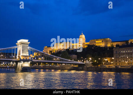 Danube river - panorama. Danube in Budapest Hungary. View of the Danube in Budapest. Embankment of Danube River Budapest - Stock Photo