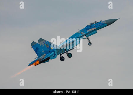 Sukhoi Su-27P 'Flanker' of the Ukrainian Air Force displaying at the Royal International Air Tattoo, RAF Fairford, UK on the 13th July 2018. - Stock Photo