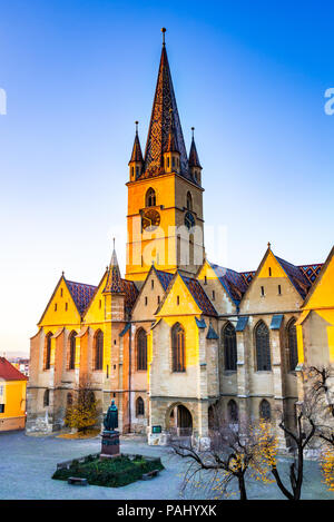 Sibiu, Romania. Evangelical Cathedral in the center of Sibiu, Transylvania, European Capital of Culture for the year 2007. - Stock Photo