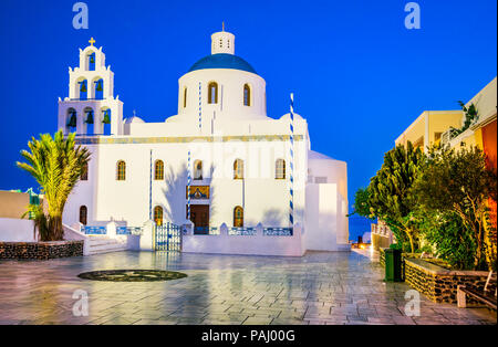 Santorini, Greece. Church of Panagia of Platsani, Oia whitewashed village in Greek Islands. - Stock Photo