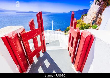 Santorini, Greece. Whitewashed city of Oia, Thira in Greek Islands, Aegean Sea. - Stock Photo