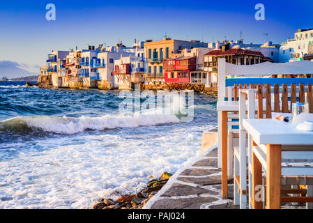 Mykonos, Greece. Little Venice waterfront houses, considered one of the most romantic places on the Cyclades Islands. - Stock Photo