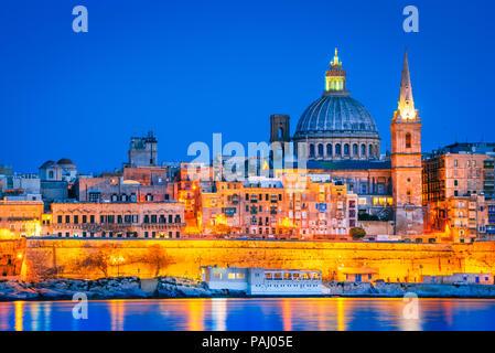 Valletta, Malta, skyline from Marsans Harbour at twilight. - Stock Photo