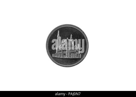 A macro image of a ten piastre coin from Egypt isolated on a white background - Stock Photo