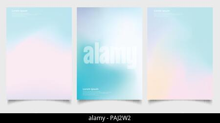 Abstract holographic poster set with gradient mesh retro style. Iridescent graphic template for brochure, banner, wallpaper, mobile screen, annual rep - Stock Photo