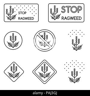 Set of minimalist linear signs about ragweed, dangerous weed, allergy cause - Stock Photo