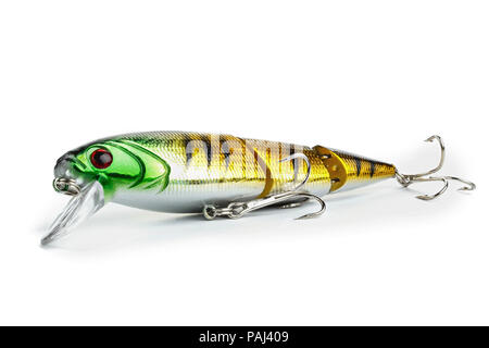 Fishing lure isolated on white. Wobblers for fishing with spinning predatory fish - Stock Photo