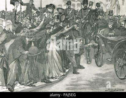 Royal visit of the Prince and Princess of Wales (later King Edward VII and Queen Consort Alexandra), procession crossing over Parnell Bridge, Cork, Ireland, 1885 - Stock Photo