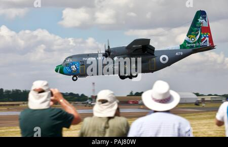 Pakistan Air Force Lockheed C-130E Hercules arriving at RAF Fairford for the 2018 Royal International Air Tattoo - Stock Photo